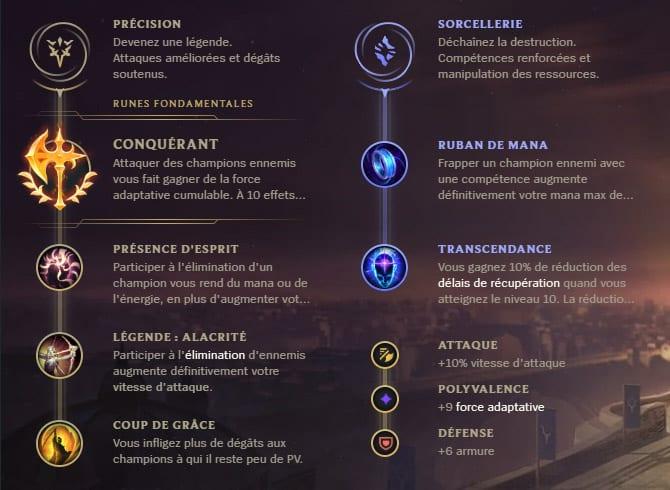 Guide LoL Ezreal Bot S10 Runes