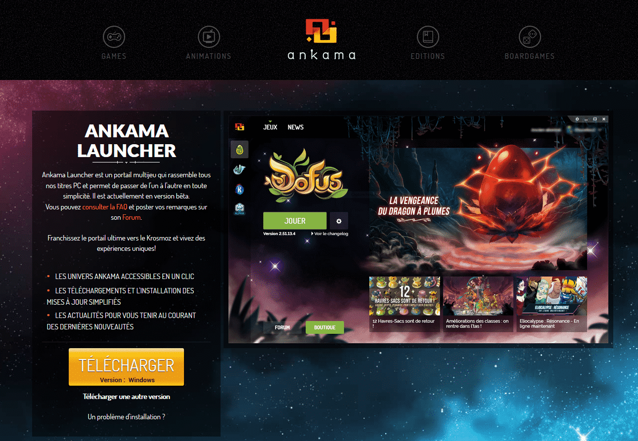 Page d'Ankama permettant de télécharger l'Ankama Launcher